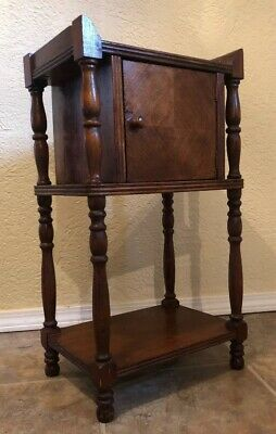 Antique 1900's Solid Wood Tobacco Smoke Stand Cigar Humidor Table Vintage