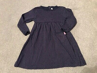Jojo Maman Bebe Girls Navy And Pink Spotted Dress Age 12-18 Months