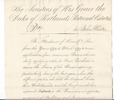 DUKE OF PORTLAND [WILLIAM CAVENDISH-BENTINCK] UNITED KINGDOM DOCUMENT c.1799