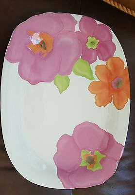 """Lenox China Floral Fusion Pattern Large Serving Platter 14""""  NEW"""