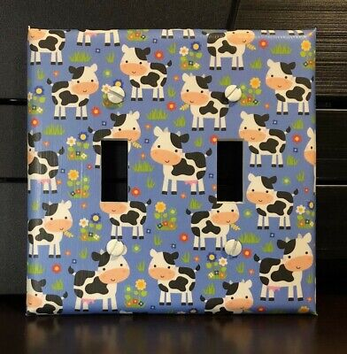 Cows Light Switch Cover Plates Outlets Black White Country Farm Decor Dairy Cow