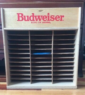 Vintage Editions Budweiser Cassette Tape Wood Storage Holder Wall Rack - 36 slot