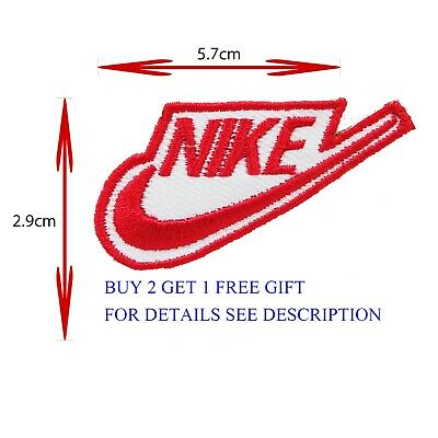 NIKE 2.9 X 5.7 cm (RED) EMBROIDERED IRON ON/SEW ON PATCH BADGE LOGO SPORTS