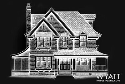 HOUSE PLANS, cottage-style 2271 sq. ft. Two-Story house plan, printed full set