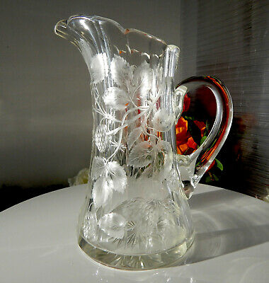 """AMERICAN BRILLIANT cut glass pitcher """"Fluted & Engraved"""" blackberries by LIBBEY"""