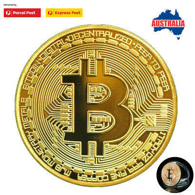 Gold Bitcoin Commemorative Round Collectors Coin Bit Gold Plated Coins AU Stock
