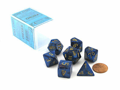 Polyhedral 7-Die Scarab Chessex Dice Set - Royal Blue with Gold Numbers