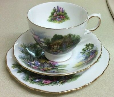 Royal Vale Country Cottage Tea Cup, Saucer & Plate Trio Fine Bone China Pat 7382