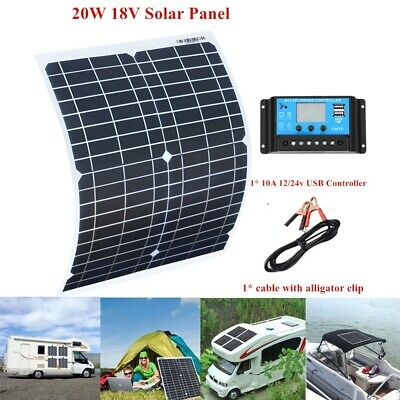 20W 18V Portable Solar Panel Kits 10A Controller Boat RV Car 12V Battery Charger