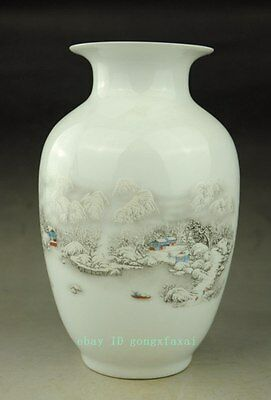 chinese old hand engraving porcelain white glaze landscape vase pretty c01