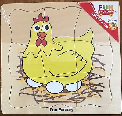 Puzzle ~ New Fun Factory Wooden Chicken Layer Life Cycle Puzzle