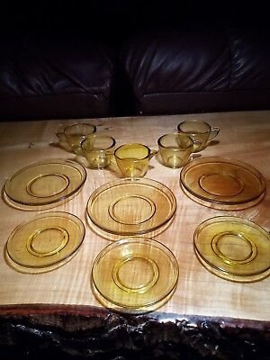 Vintage Childs Tea Set Dishes Antique Pressed Glass amber yellow depression