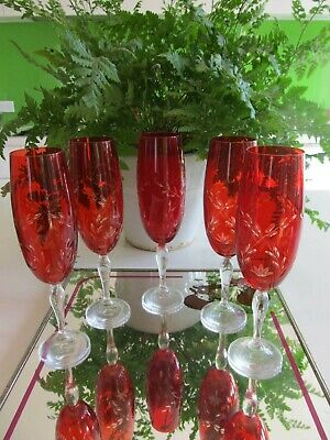 Vintage set 5 Etched 22 cm Red Ruby Glass Crystal Champagne Flutes P/U Footscray
