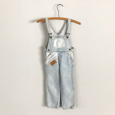 Vintage 90's Guess Triangle Logo Light Denim Overalls With Stripes Size 4t