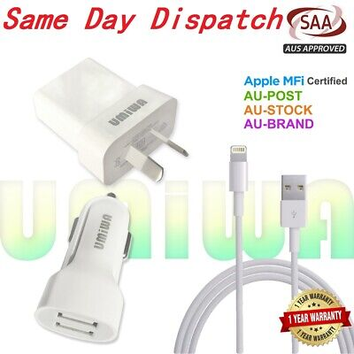 Genuine Usb Wall Car Charger Cable Wire-Apple Iphone X Xs Max Plus 5 6 7 8 Se