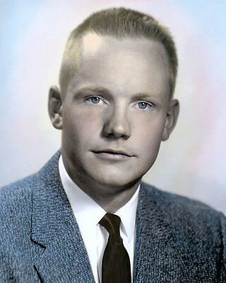 "NEIL ARMSTRONG 1956 ASTRONAUT WALKED ON MOON 8x10"" HAND COLOR TINTED PHOTOGRAPH"