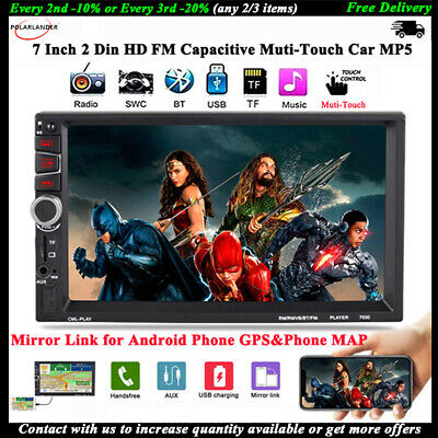 7''2Din Car Radio Stereo Bluetooth MP5 Player Touch Screen FM/USB/AUX Mirroring