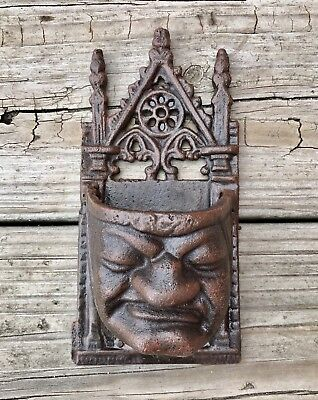 Cast Iron Gothic Brown Medieval Face Wall-Mount Match Holder