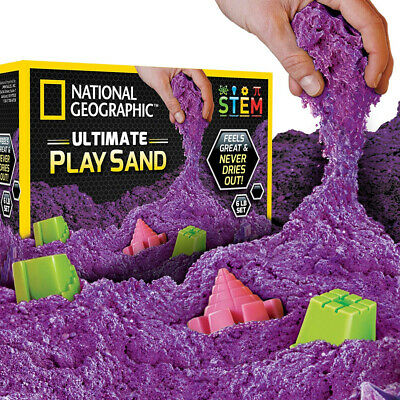 National Geographic Play Sand - 6 LBS of Sand with Castle Molds (Purple) - A