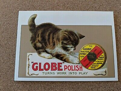 Vintage Cat Postcard. Advertising. Kitten with tun if polish. Continental size.