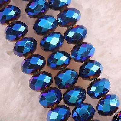 8mm  70pc BlueJewelry Faceted Rondelle glass crystal Loose beads 003