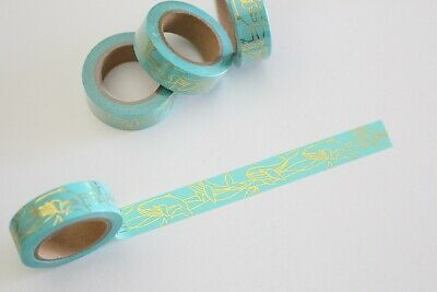 Gold foil whales on mint washi tape, Cute Washi Tape, Planner accessories