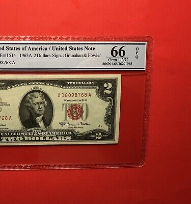 1963 A -$2 Red Seal Note,graded By Pcgs Golden Field Gem Uncirculated 66 Opq.