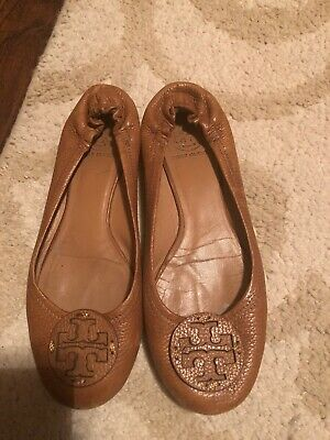 f84a5dfeb02dd0 Tory Burch Reva brown leather ballet flats shoes Sz 8M Retail 225 Pre-owned