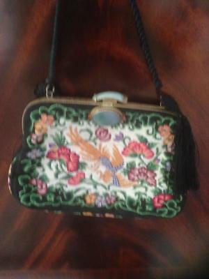 Vintage Chinese Petit point Purse Handbag, Jade Clasp,Phoenix and Flowers