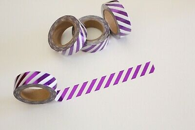 Metallic purple stripes washi tape, Cute Washi Tape, Planner accessories