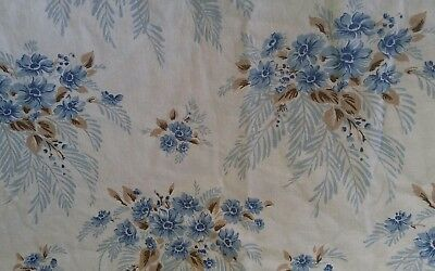 Vintage Cotton Flat Sheet Retro Shabby Chic Floral Fabric Double ☆ VGC ☆