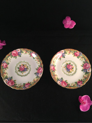 Vintage Paragon 'Tapestry Rose' saucers lot of 2 England