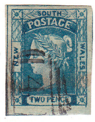 NSW 1851 LAUREATE ISSUE 2d BLUE (COMPLETE MARGINS)