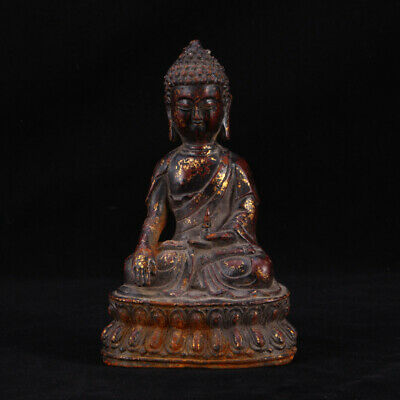 Fabulous Archaic Rare Vintage Chinese Bronze Buddha Seated Statue Sculpture