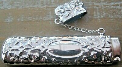 A Chunky Roccoco Sterling Silver Large Needle Case - Toothpick Holder Chatelaine