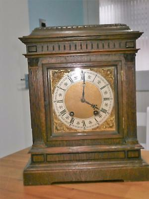 Lenzkirch Oak Ting Tang Bracket Clock Good Working Order