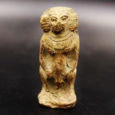 Ancient Egypt, Antique Egyptian Faience Baboon Amulet Figurine..1075-600 B.C.