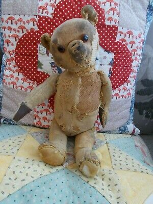 """Lionel"" - Very Patched Up Antique Bear - Wonderful Old Character"