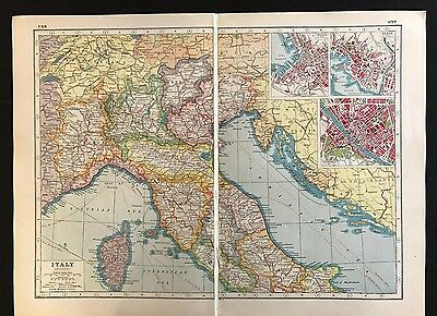 Vintage Map 1920, Italy (North) - Harmsworth's Atlas - A3BK3