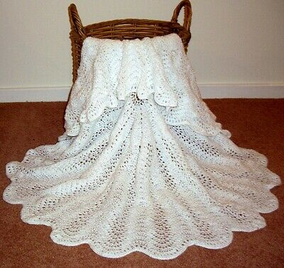 Baby Shawl - Circular - Hand Knitted 100 - 105Cm Diameter Lace Design