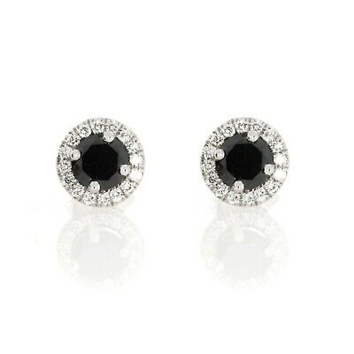 1/3 Ct Round Brilliant White & Black Diamond Sterling Silver Halo  Stud Earrings