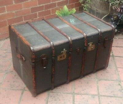 Antique Steamer Trunk Old Paint Patina  52x96x52cm