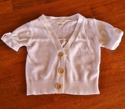 Girls White Cotton On Baby Cardigan With Wooden Buttons - Size 0