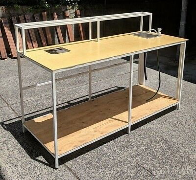Steel work bench table 2000 x 800 custom made. Great condition.