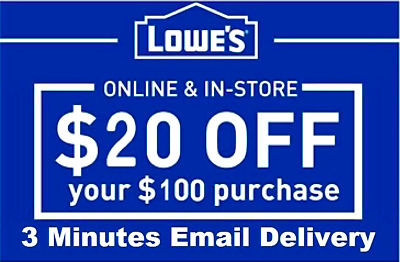 Three 3x Lowes $20 OFF $100 InStore and Online3Coupons Lowe's -Fast Delivery-