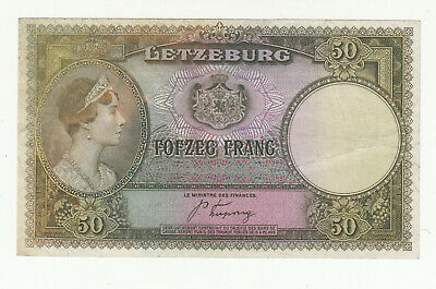 Luxembourg 50 francs 1944 circ. (pressed) p46 @ low start