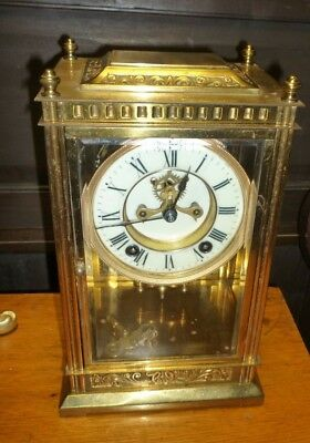 Good Antique Four Glass Mantle Clock In Good Working Order