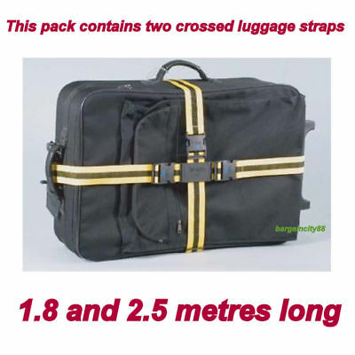 2Adjustable Strong Nylon Travel Suitcase Luggage Belts 2pack Cross Straps3colour