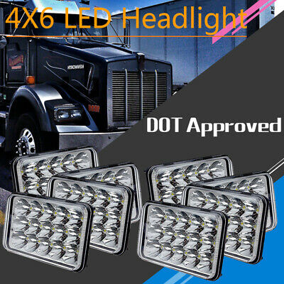 "8pcs 4X6""H4656/4651 Sealed Beam LED Headlight For Kenworth Peterbilt 357 379 378"
