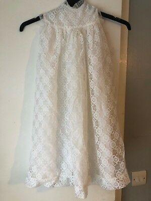 Vintage 1970's white lace christening gown.